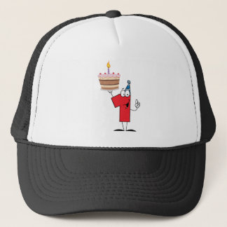 Number One With Birthday Cake And One Candle Lit Trucker Hat