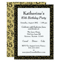 Number Pattern 85 Cool Birthday Party Gold/Black Invitation