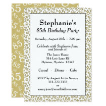 Number Pattern 85 Cool Birthday Party Gold/White Invitation