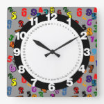 Number Pattern Square Wall Clock