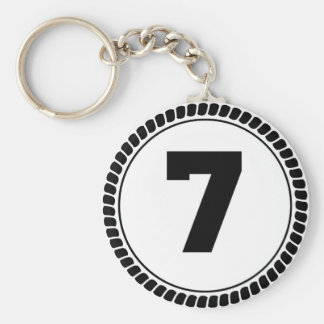 Number Seven Circle Keychain