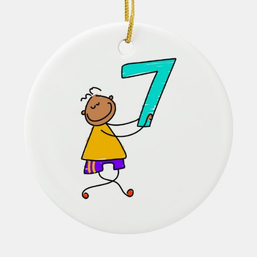 Number seven kid christmas tree ornaments zazzle for Number of ornaments for christmas tree