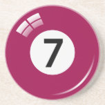 Number seven pool ball sandstone coaster