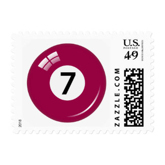 Number seven pool or billiard ball postage stamp