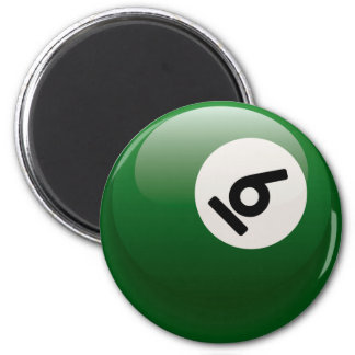 NUMBER SIX BILLIARDS BALL 2 INCH ROUND MAGNET