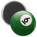 NUMBER SIX BILLIARDS BALL REFRIGERATOR MAGNET