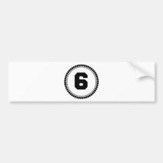 Number Six Circle Car Bumper Sticker
