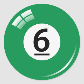 Number six pool ball stickers/labels classic round sticker