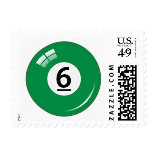 Number six pool or billiard ball postage stamp