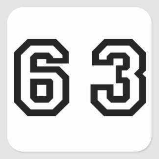 Number Sixty Three Square Sticker