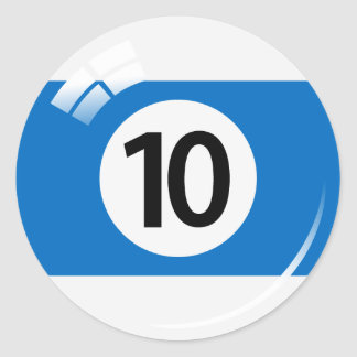 Number ten pool ball stickers/labels classic round sticker