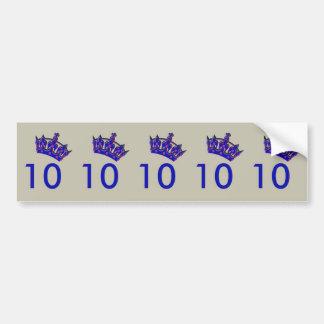 Number Ten With Blue Crown Bumper Sticker