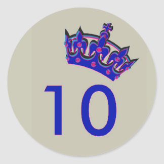 Number Ten With Blue Crown Classic Round Sticker