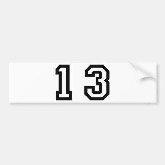 Number Thirteen Car Bumper Sticker
