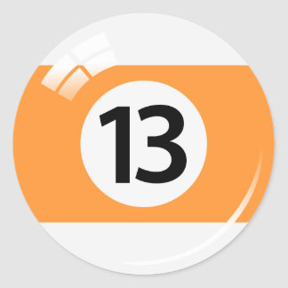 Number thirteen pool ball stickers/labels classic round sticker