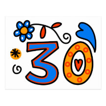 Number Thirty Cartoon Birthday Age Post Cards