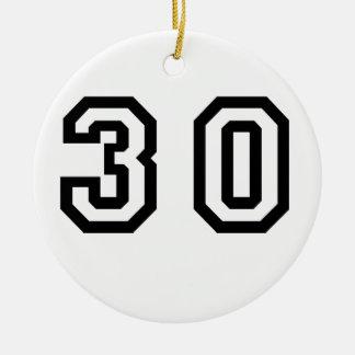 Number Thirty Ceramic Ornament