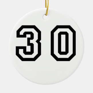 Number Thirty Double-Sided Ceramic Round Christmas Ornament