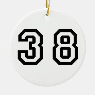 Number Thirty Eight Double-Sided Ceramic Round Christmas Ornament