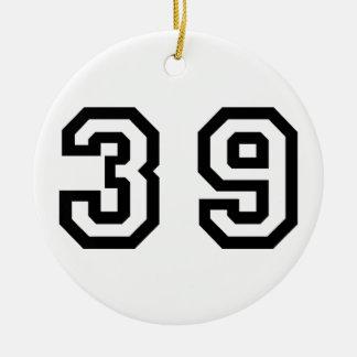 Number Thirty Nine Ceramic Ornament