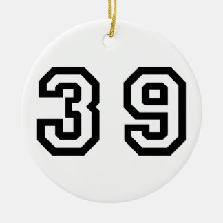 Number Thirty Nine Double-Sided Ceramic Round Christmas Ornament