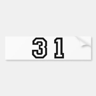 Number Thirty One Bumper Sticker