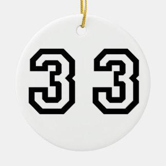 Number Thirty Three Ceramic Ornament