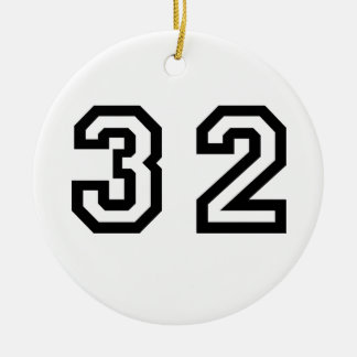 Number Thirty Two Double-Sided Ceramic Round Christmas Ornament