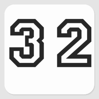 Number Thirty Two Square Sticker