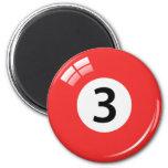 Number three billiard ball fridge magnet