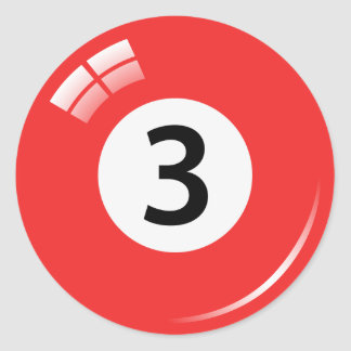 Number three pool ball stickers/labels classic round sticker