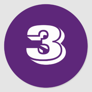 Number Three Small Round Purple Stickers by Janz
