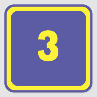 number three square sticker
