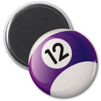 NUMBER TWELVE BILLIARDS BALL 2 INCH ROUND MAGNET