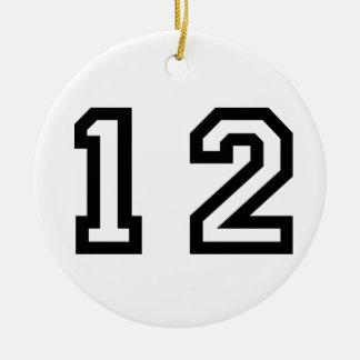 Number Twelve Ceramic Ornament
