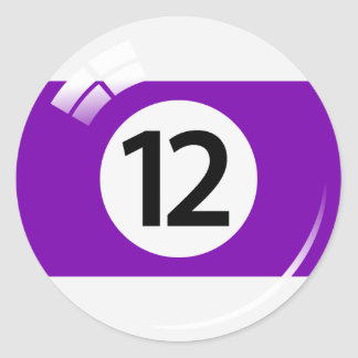 Number twelve pool ball stickers/labels classic round sticker