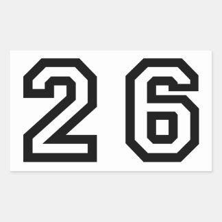 Number Twenty Six Rectangular Sticker