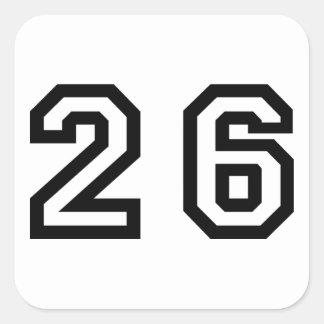 Number Twenty Six Square Sticker