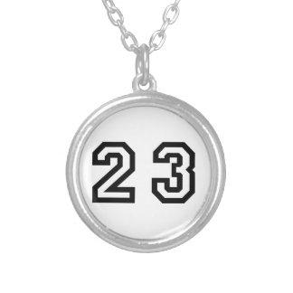Number Twenty Three Round Pendant Necklace