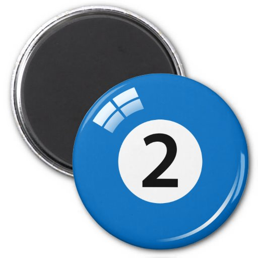 Number two billiard ball fridge magnet