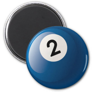 NUMBER TWO BILLIARDS BALL 2 INCH ROUND MAGNET