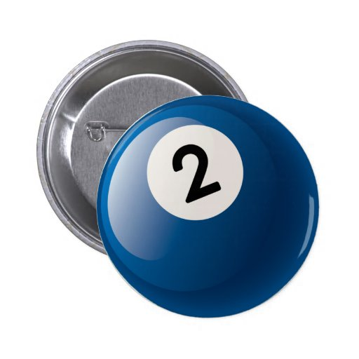 NUMBER TWO BILLIARDS BALL BUTTON