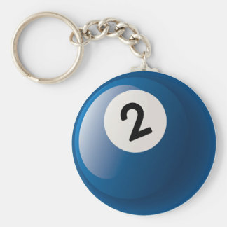 NUMBER TWO BILLIARDS BALL BASIC ROUND BUTTON KEYCHAIN