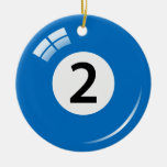 Number two pool ball ornament - double sided
