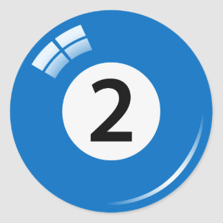 Number two pool ball stickers/labels classic round sticker