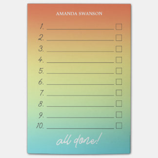 Numbered To Do List Tropical Ombre Custom Name Post-it Notes