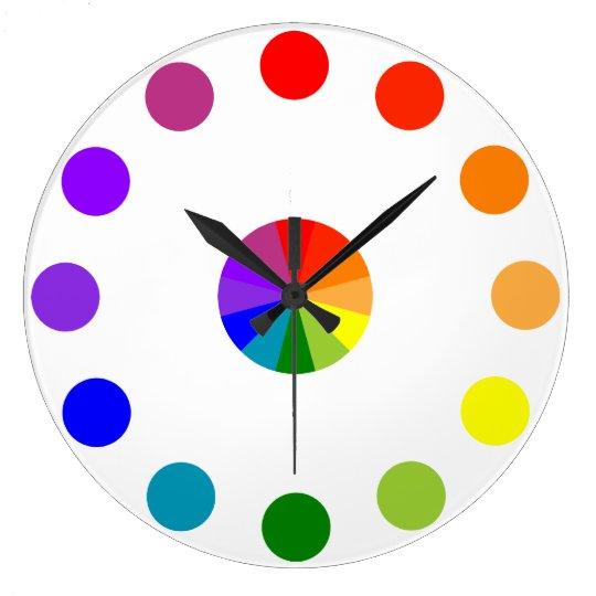 Numberless RYB Color Wheel Clock-4 Large Clock