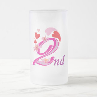 Numbers-0004 ANNIVERSARY PINKS RED HEARTS 2ND SEC Frosted Glass Beer Mug