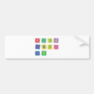 Numbers 0 to 9 bumper sticker