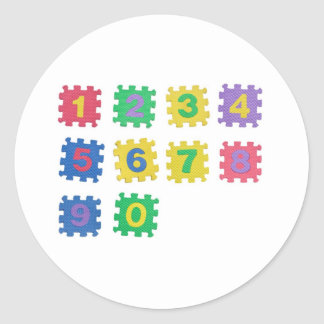 Numbers 0 to 9 classic round sticker